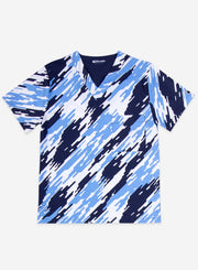 Men's Print Scrub Top Camo Pattern in Navy Blue and ceil-blue