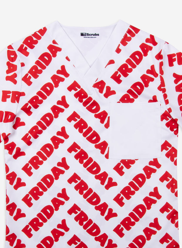 Men's Friday Red Scrub Top Detail Chiefs Football