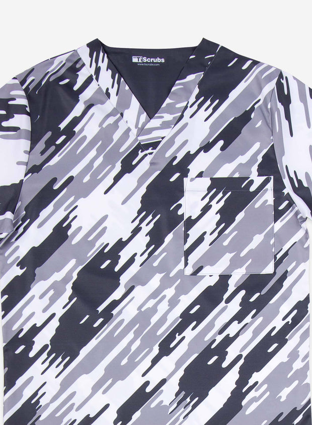 Men's Print Scrub Top Camo Pattern detail in white and gray