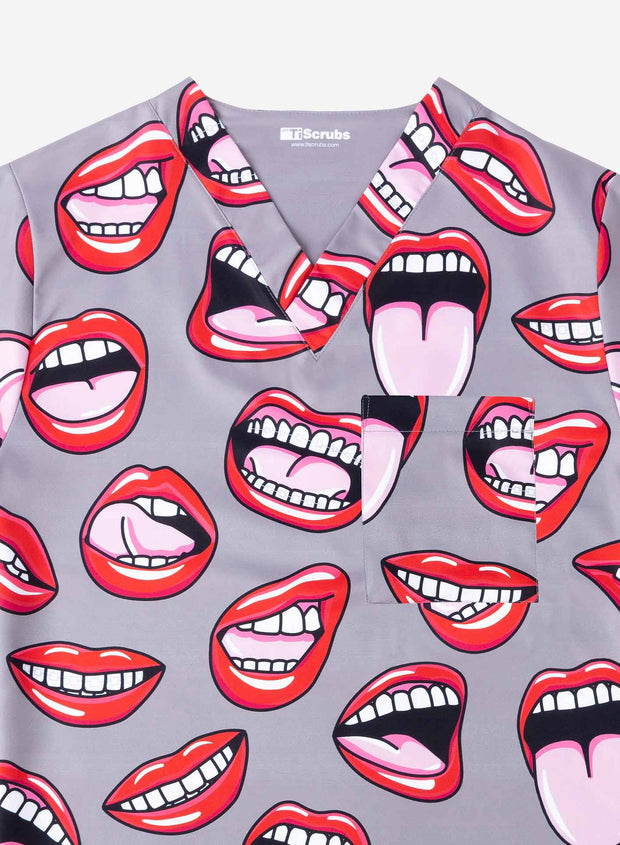 Men's Print Scrub Top Dentist Mouth Pattern detail in gray
