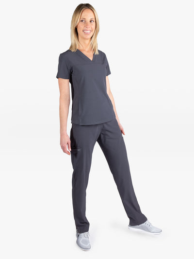 Women's Stretch Scrub Pants in Charcoal Gray with Tapered Slim Fit