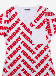 Women's Friday Red Scrub Top Detail