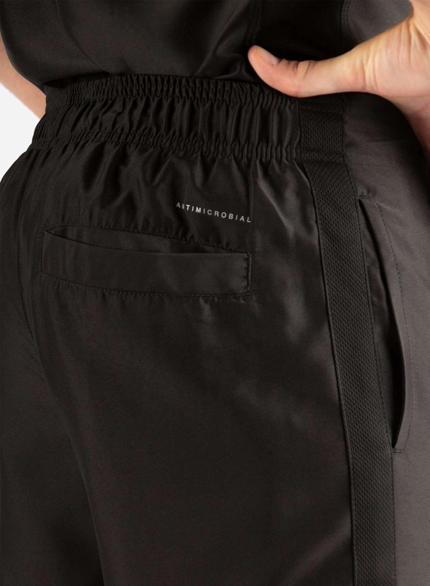 Men's Slim Fit Scrub Pants in Real Black Back Pocket View