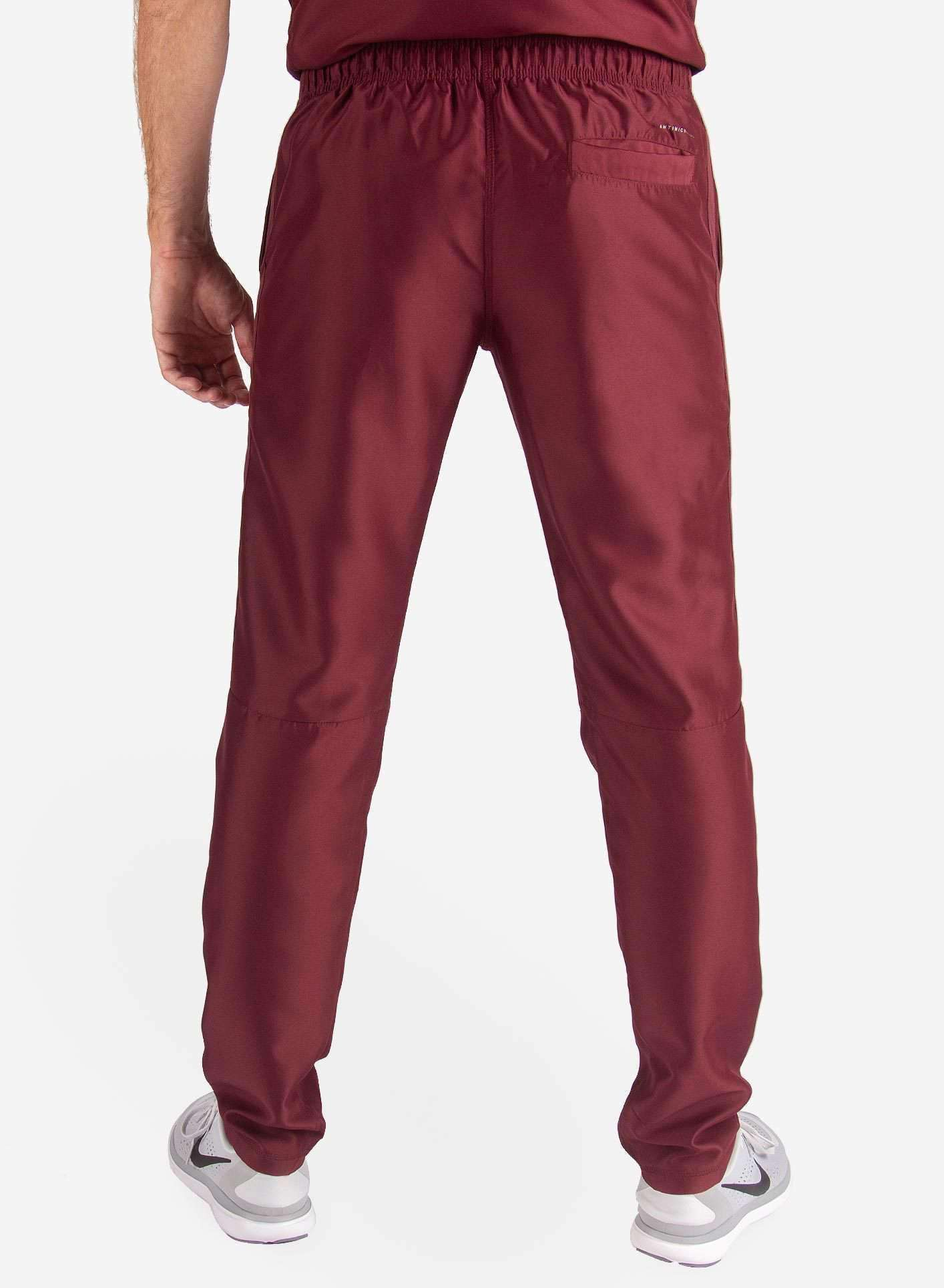 Men's Slim Fit Scrub Pants in Bold Burgundy Back