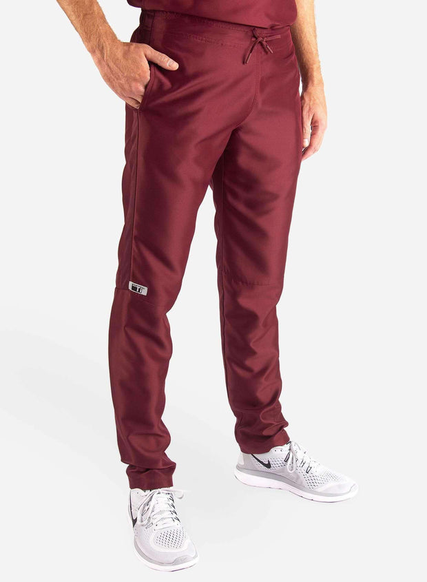 Men's Slim Fit Scrub Pants in Bold burgundy