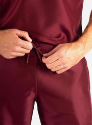 Men's Slim Fit Scrub Pants in Bold Burgundy waistband