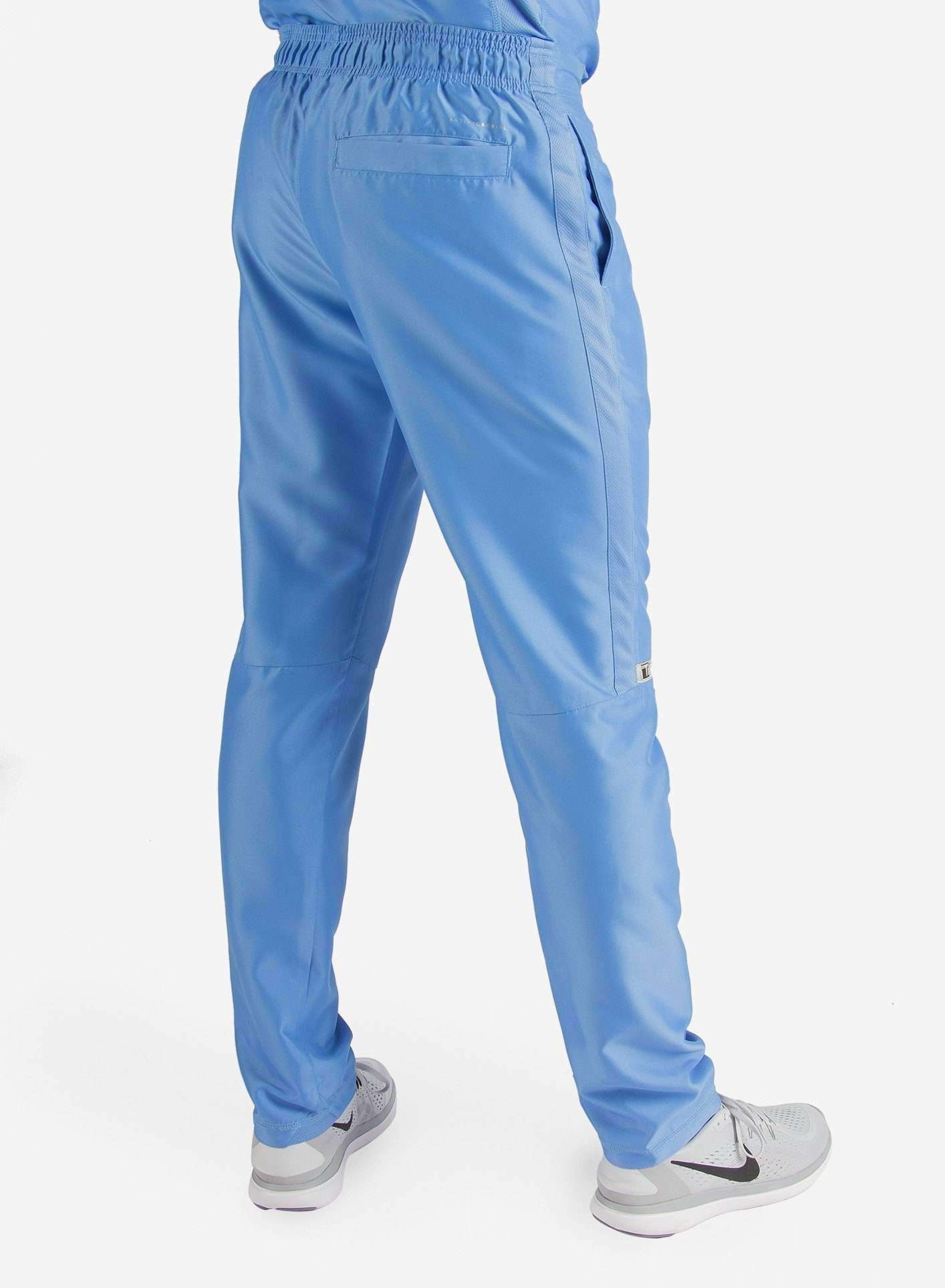 Men's Slim Fit Scrub Pants in Ceil Blue Back View
