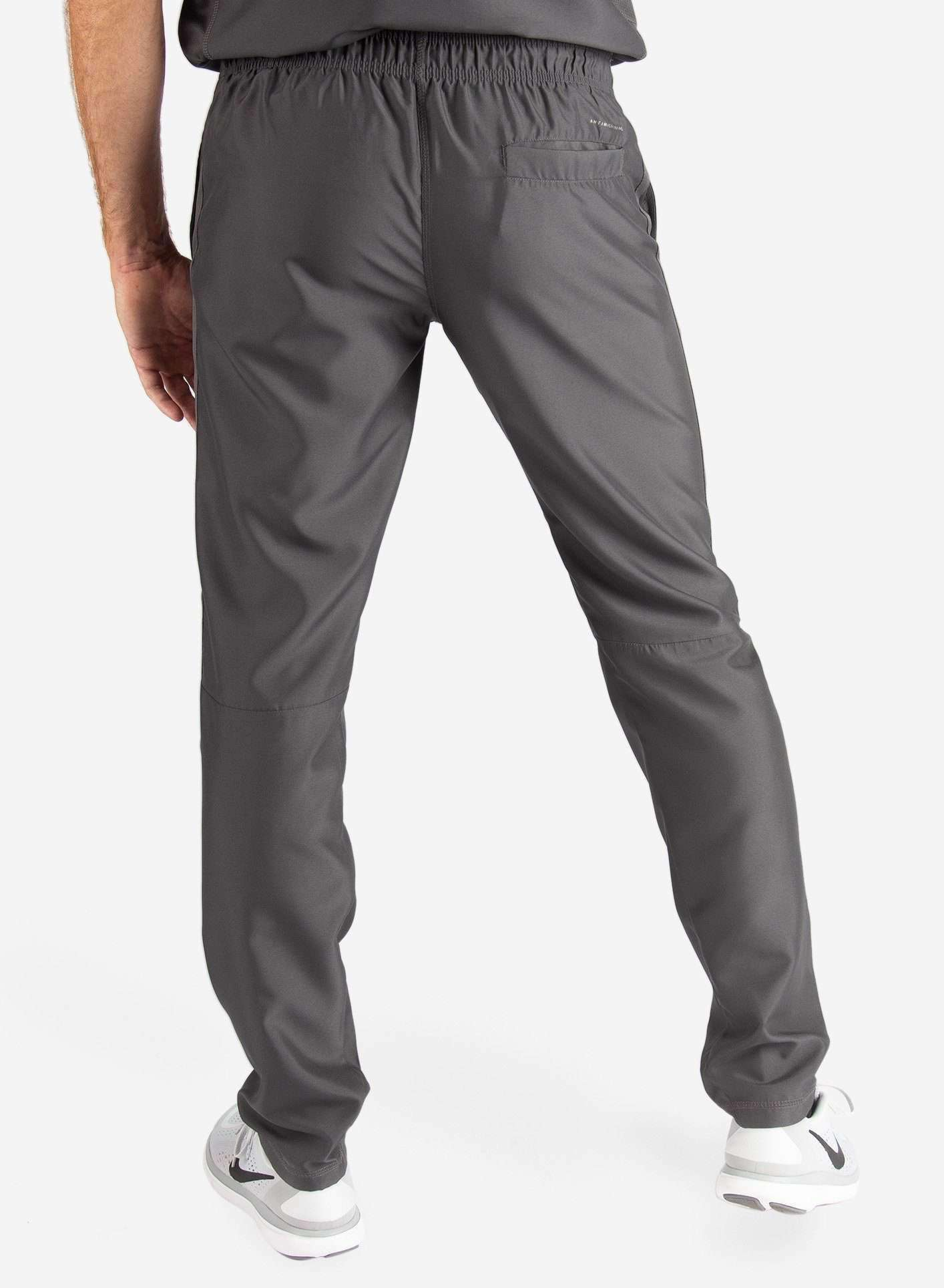 Men's Slim Fit Scrub Pants in Dark Grey Back View