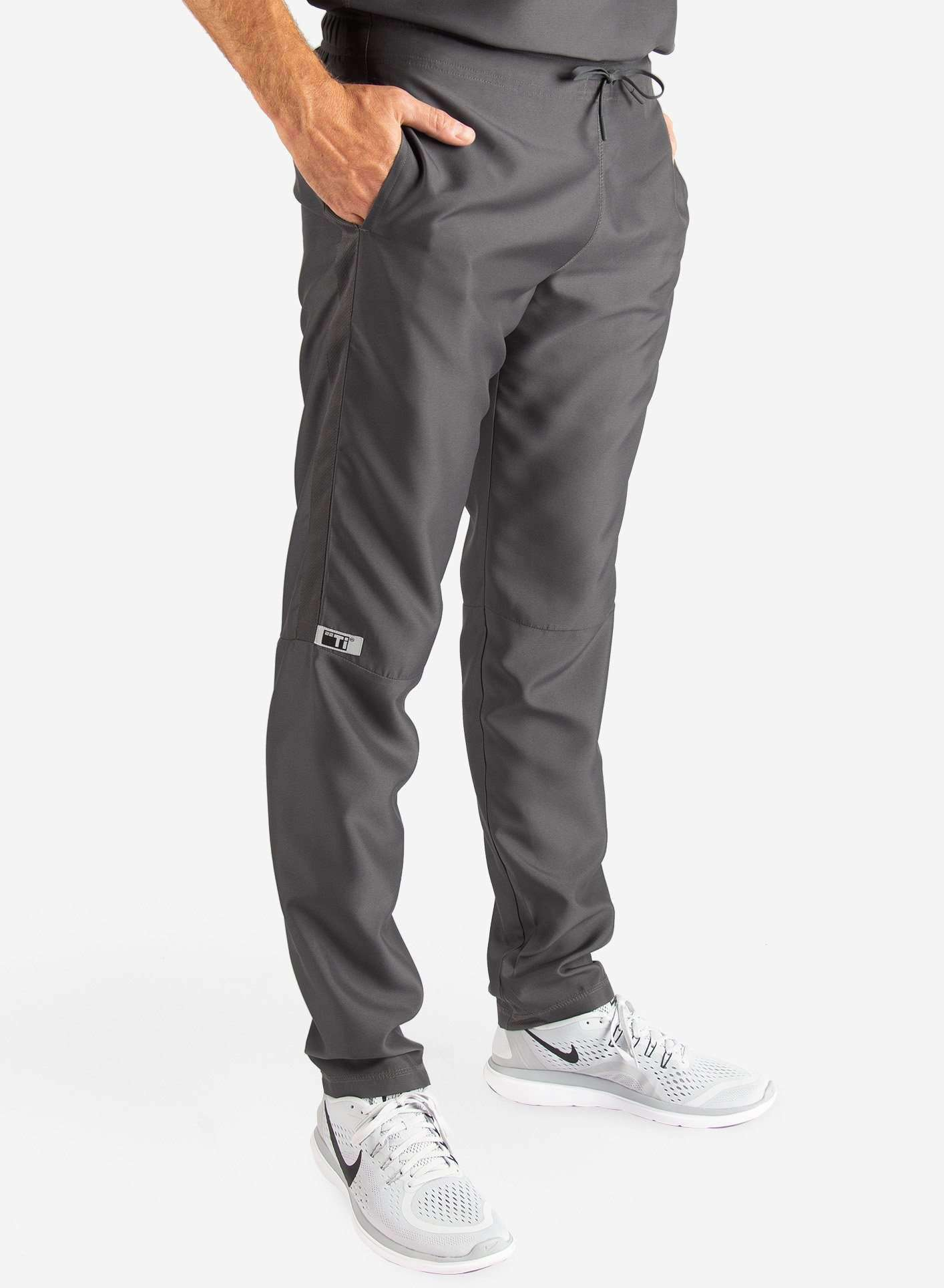 Men's Slim Fit Scrub Pants in Dark Grey