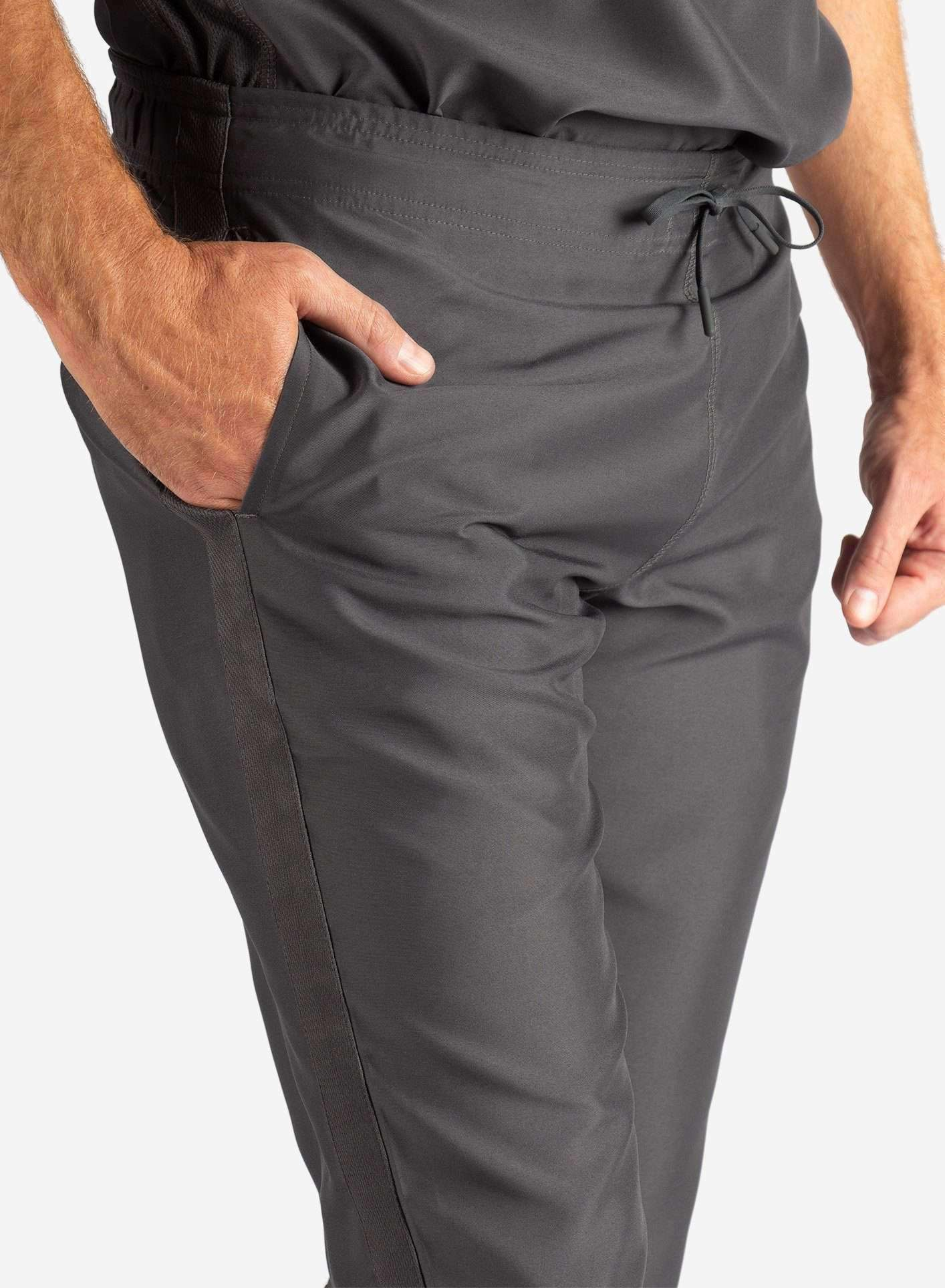 Men's Slim Fit Scrub Pants in Dark Grey Waistband View