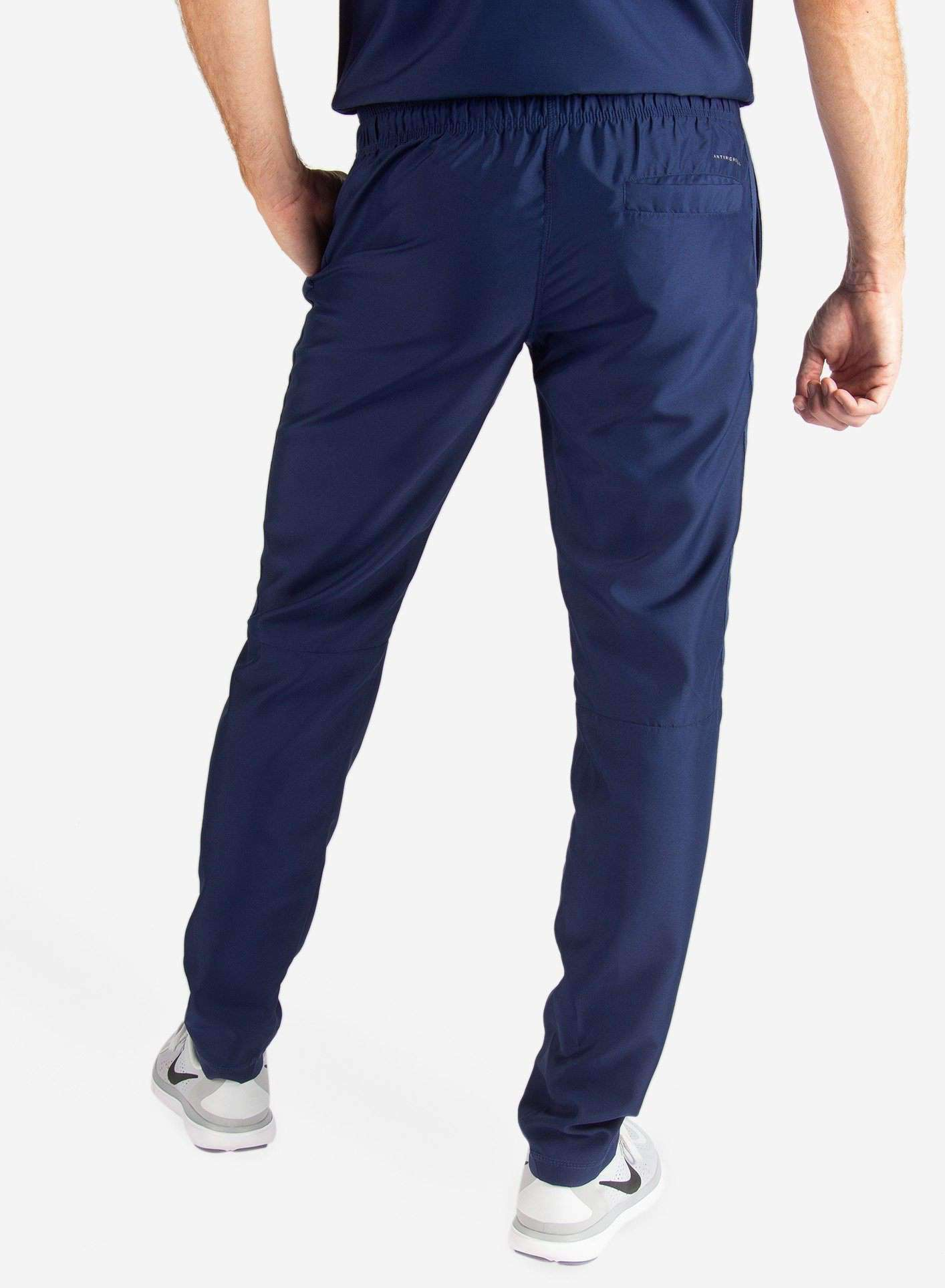 Men's Slim Fit Scrub Pants in Navy Blue Back View