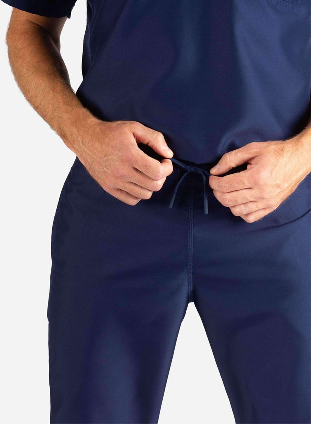 Men's Slim Fit Scrub Pants in Navy Blue Waistband View
