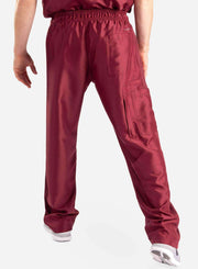 mens Elements cargo pocket relaxed fit scrub pants bold burgundy back