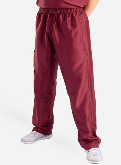 mens Elements cargo pocket relaxed fit scrub pants bold burgundy burgundy