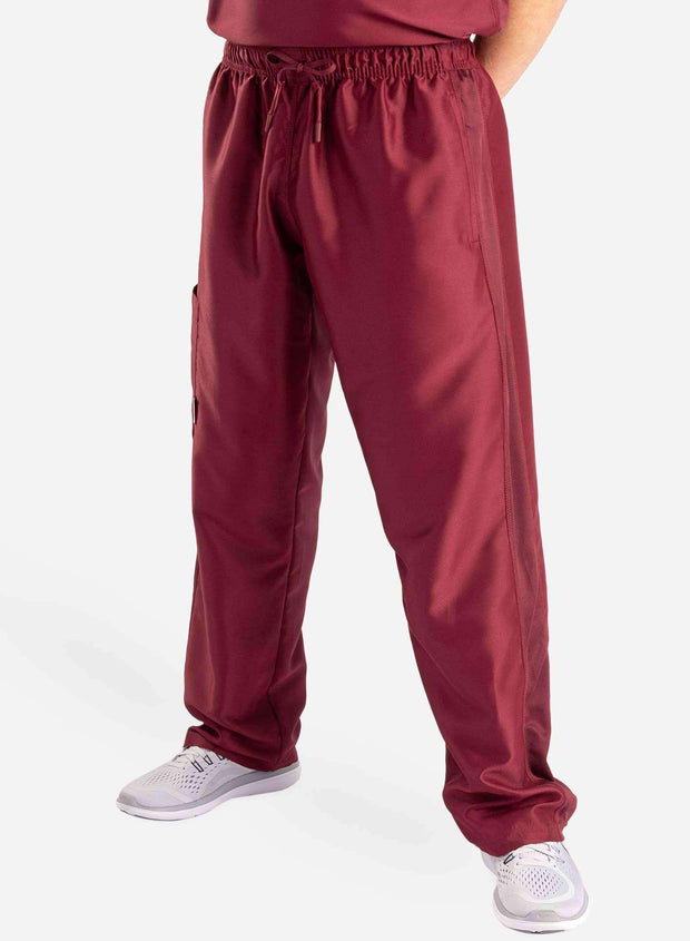 mens Elements cargo pocket relaxed fit scrub pants bold burgundy front