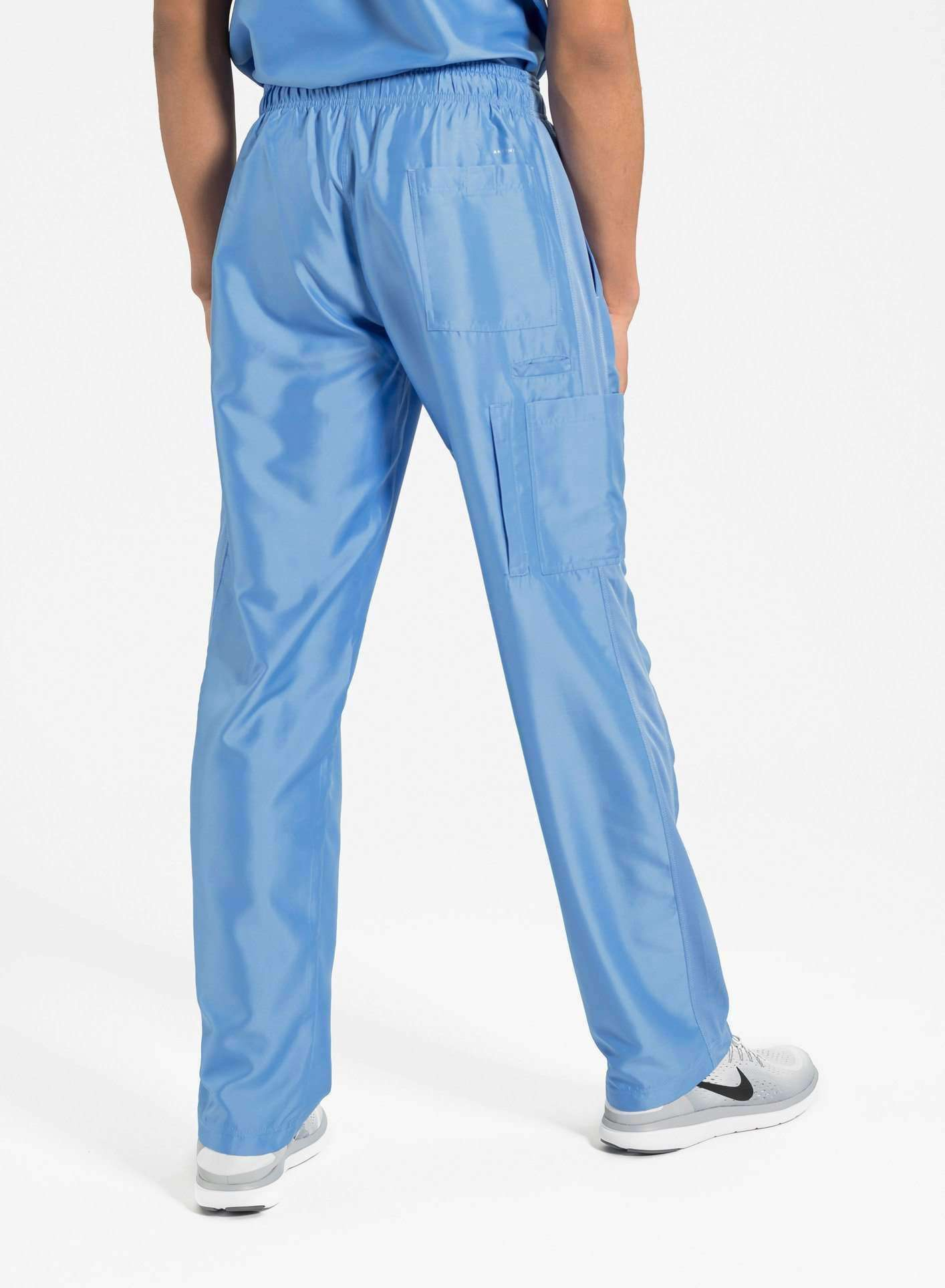 mens Elements cargo pocket relaxed fit scrub pants ceil blue