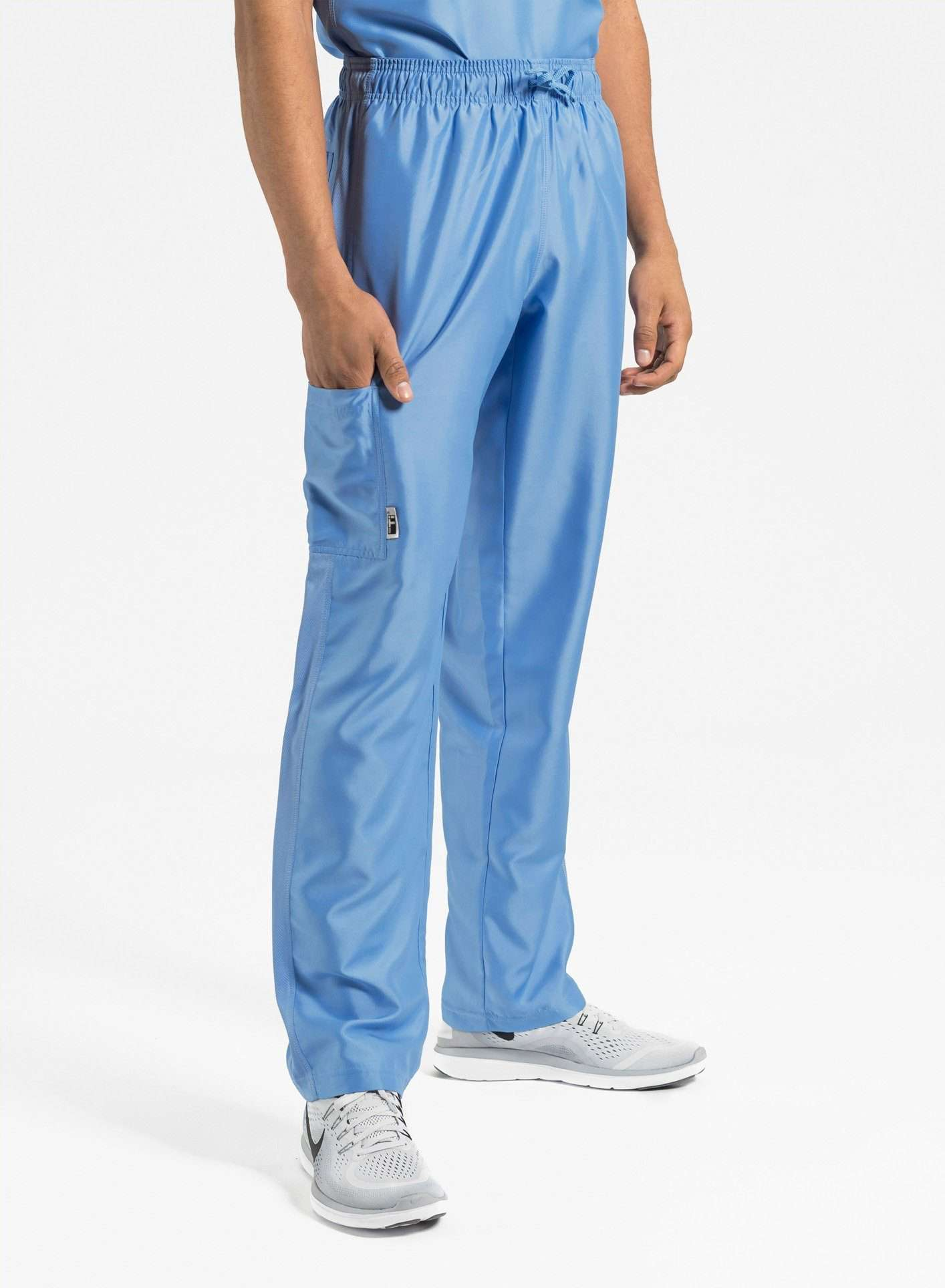 mens Elements short and tall relaxed fit scrub pants ceil blue