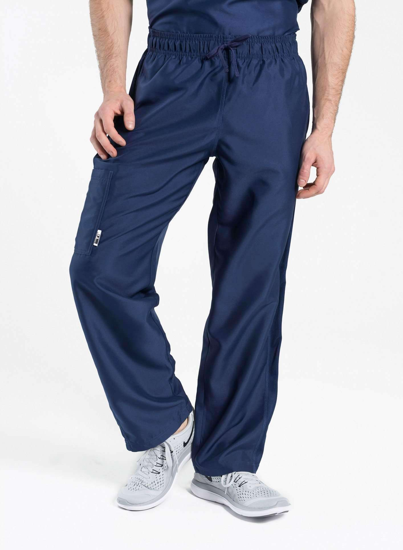 mens Elements cargo pocket relaxed fit scrub pants navy blue