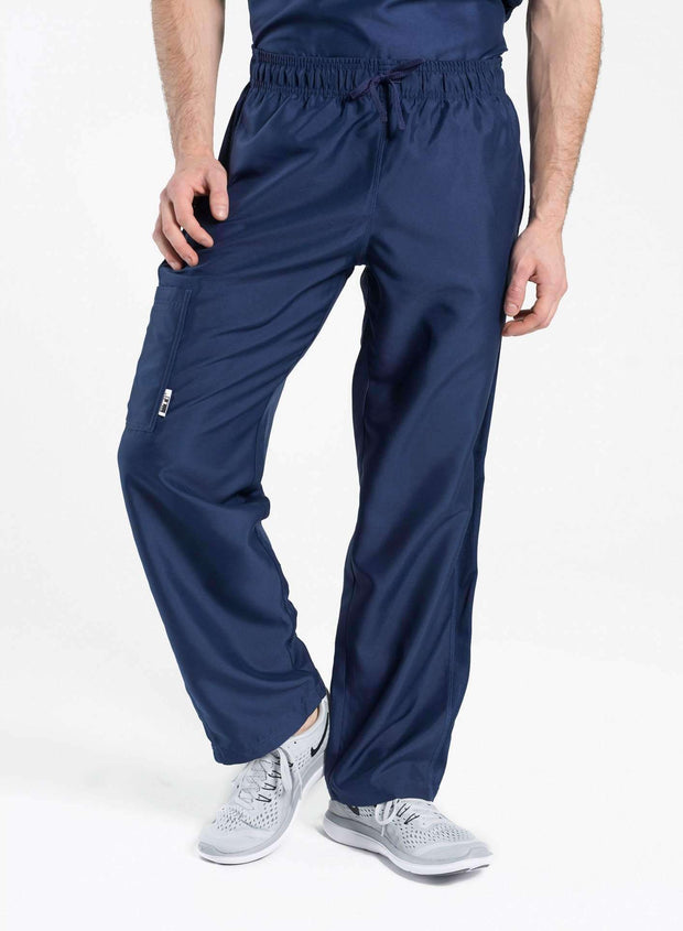 mens Elements cargo pocket relaxed fit scrub pants navy-blue