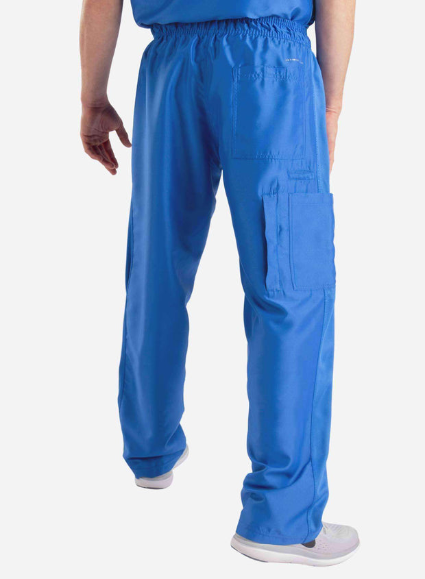 mens Elements cargo pocket relaxed fit scrub pants royal blue back