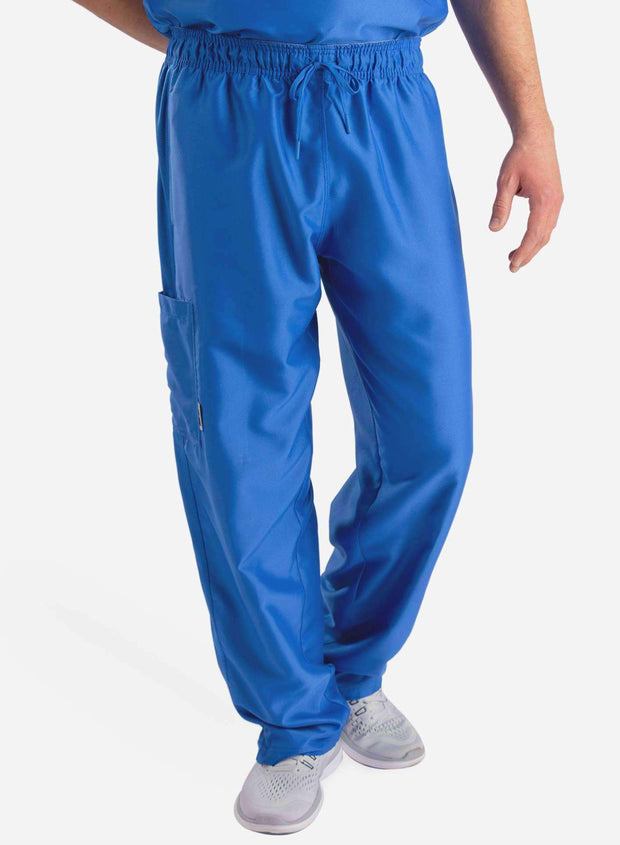 mens Elements cargo pocket relaxed fit scrub pants royal blue front