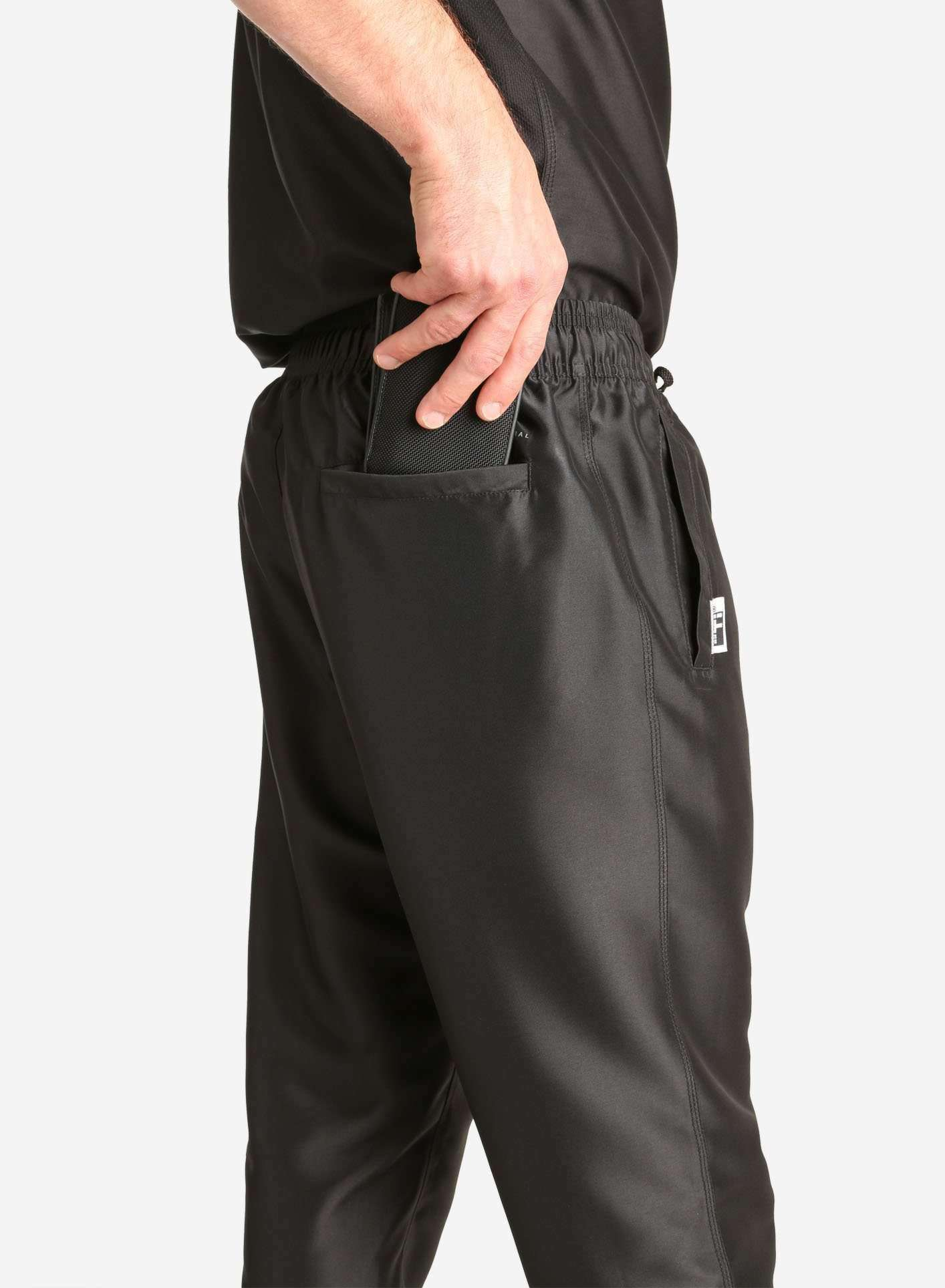 Men's Jogger Scrub Pants in Black Back Pocket Detail View