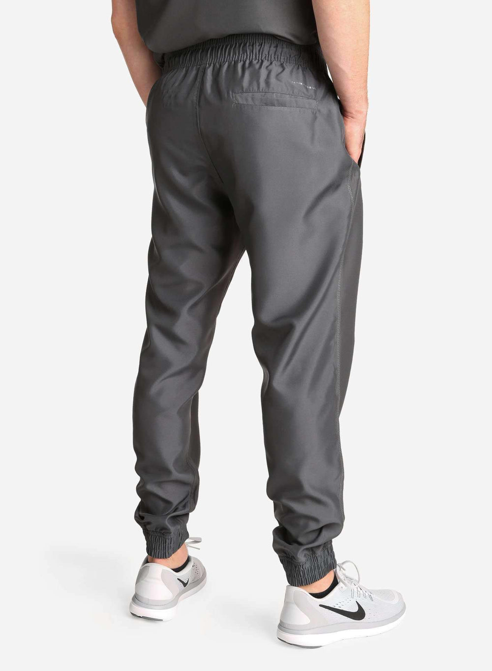 Men's Jogger Scrub Pants in Dark Grey Rear View