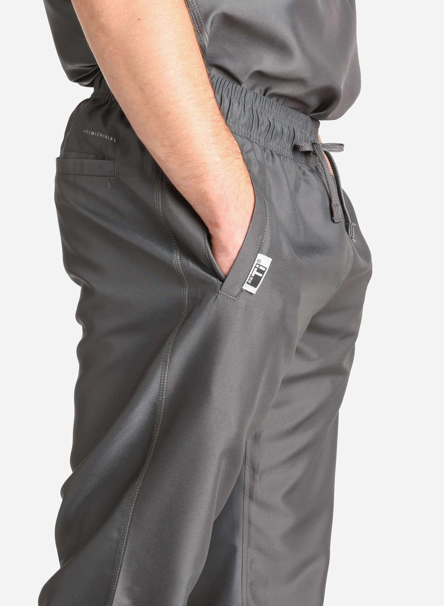 Men's Jogger Scrub Pants in Dark Grey Pocket Detail View