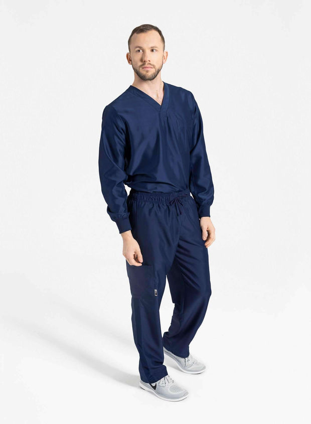 mens Elements cargo pocket relaxed fit scrub pants navy blue and top