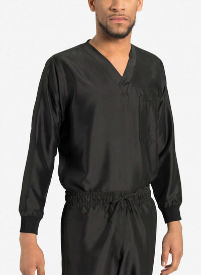 mens Elements long sleeve one pocket scrub top black