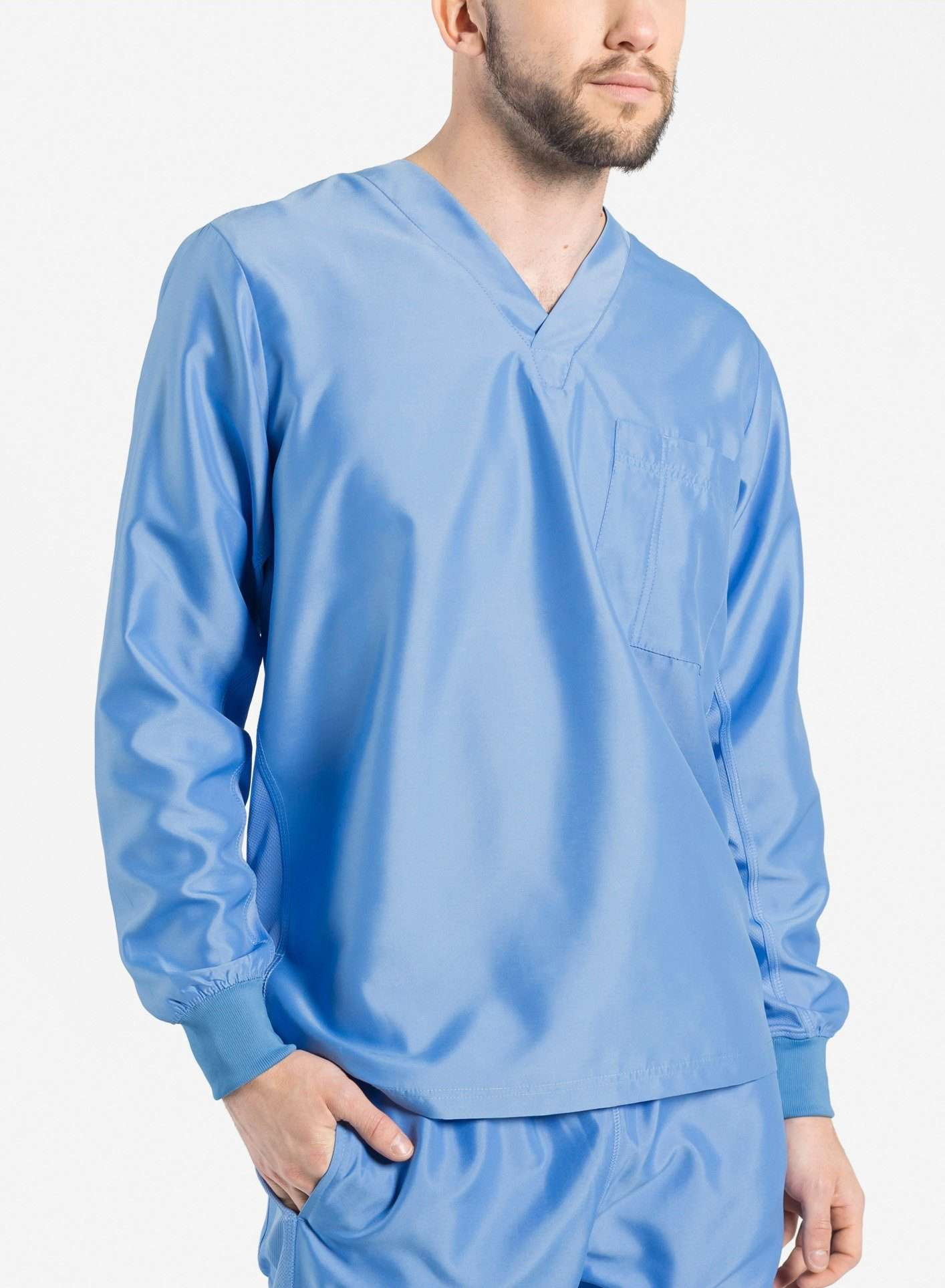 mens Elements long sleeve one pocket scrub top ceil blue