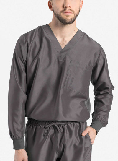 mens Elements long sleeve one pocket scrub top dark gray