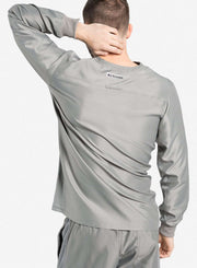 mens Elements long sleeve one pocket scrub top light gray