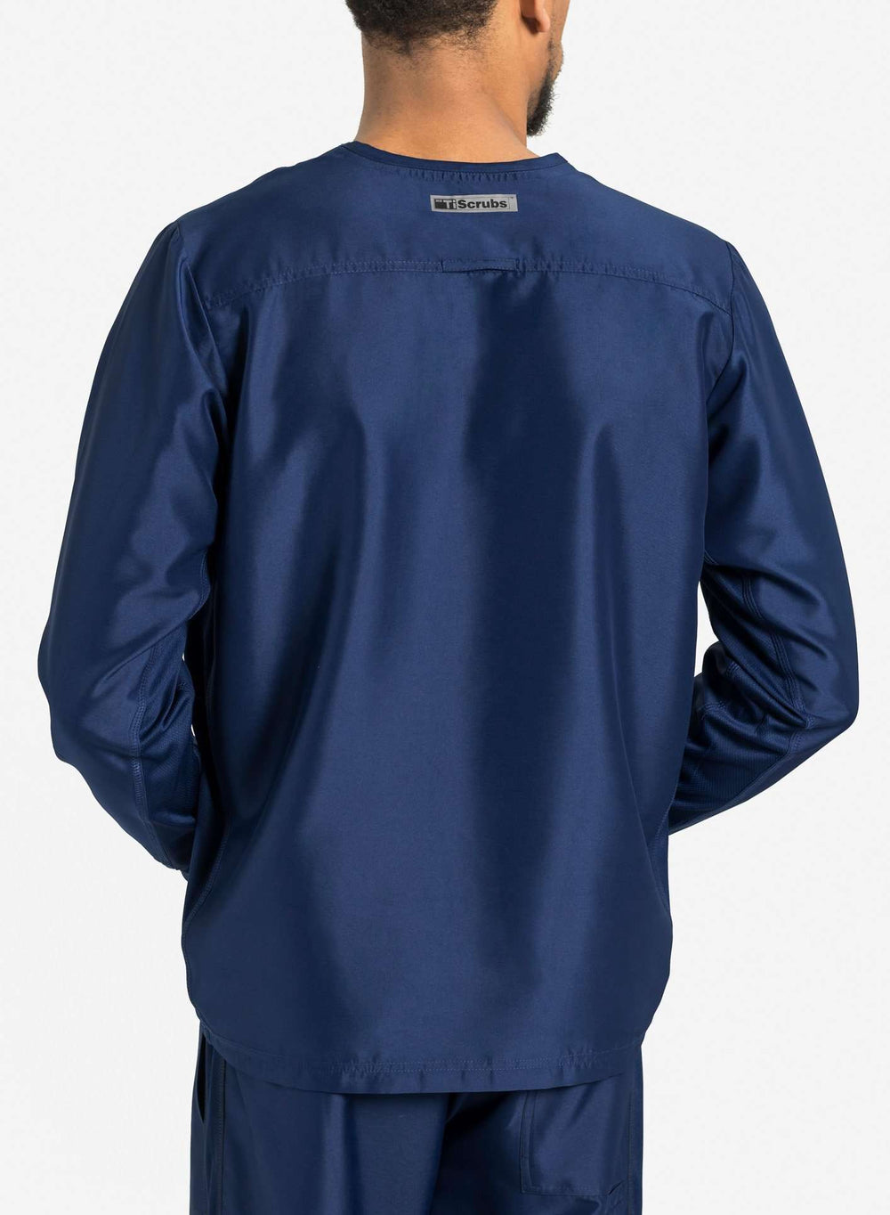 mens Elements long sleeve one pocket scrub top navy blue