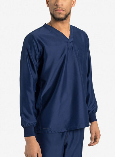 mens Elements long sleeve one pocket scrub top navy-blue