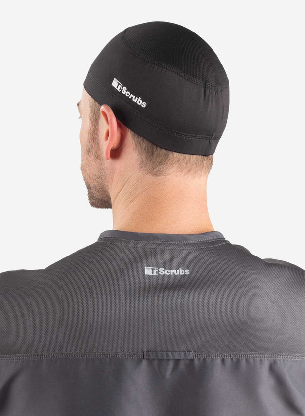 Men's scrub cap back view black