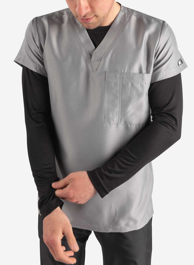 Men's black long sleeve undershirt worn under scrub top