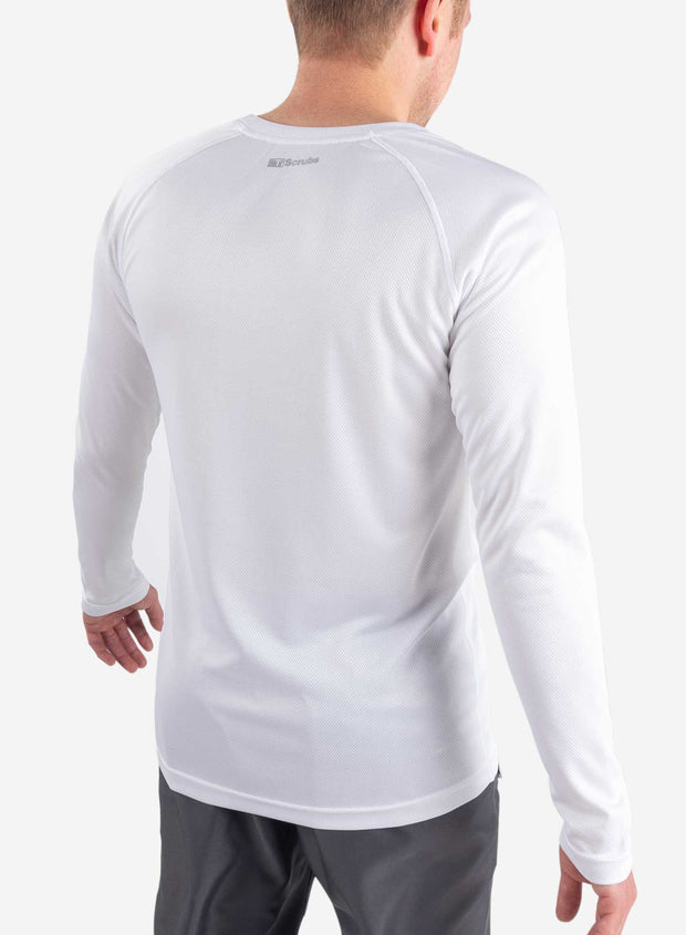 Men's long sleeve underscrub in white back view