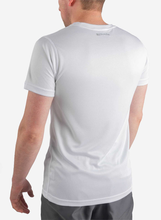 Men's white short sleeve underscrub back view