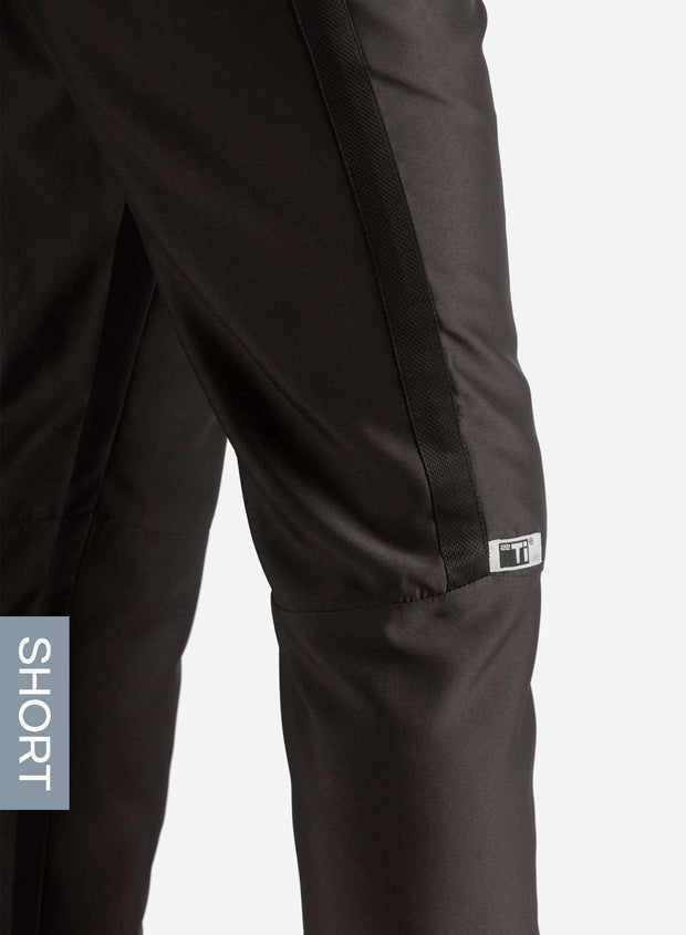 Men's Short Slim Fit Scrub Pants in Real Black Side View