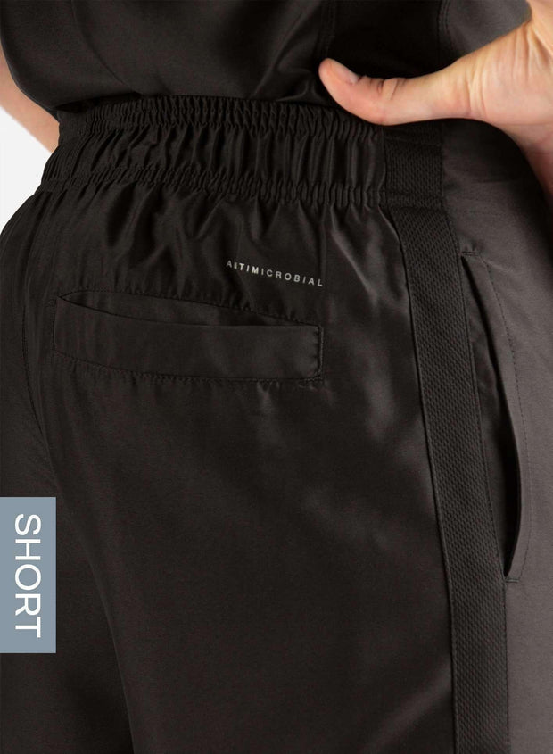 Men's Short Slim Fit Scrub Pants in Real Black Back Pocket View