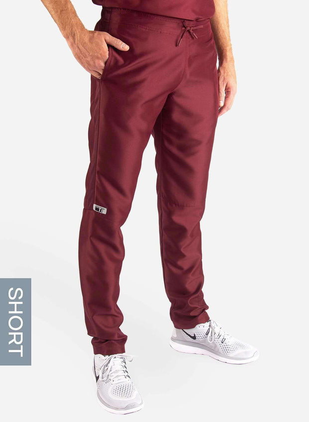 Men's Short Slim Fit Scrub Pants in Bold burgundy