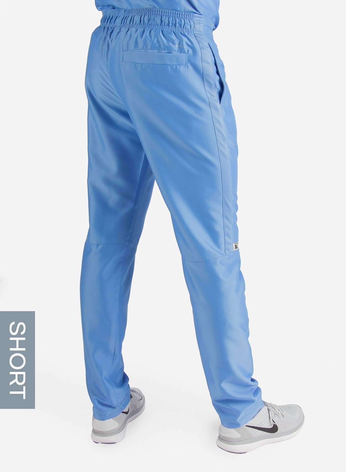 Men's Short Slim Fit Scrub Pants in Ceil Blue Back View