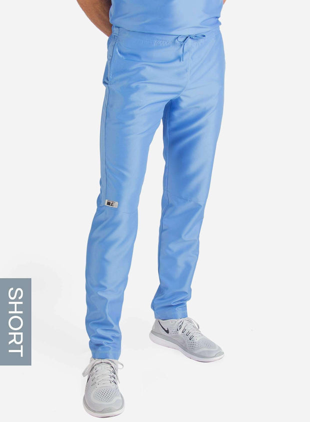 Men's Short Slim Fit Scrub Pants in ceil-blue