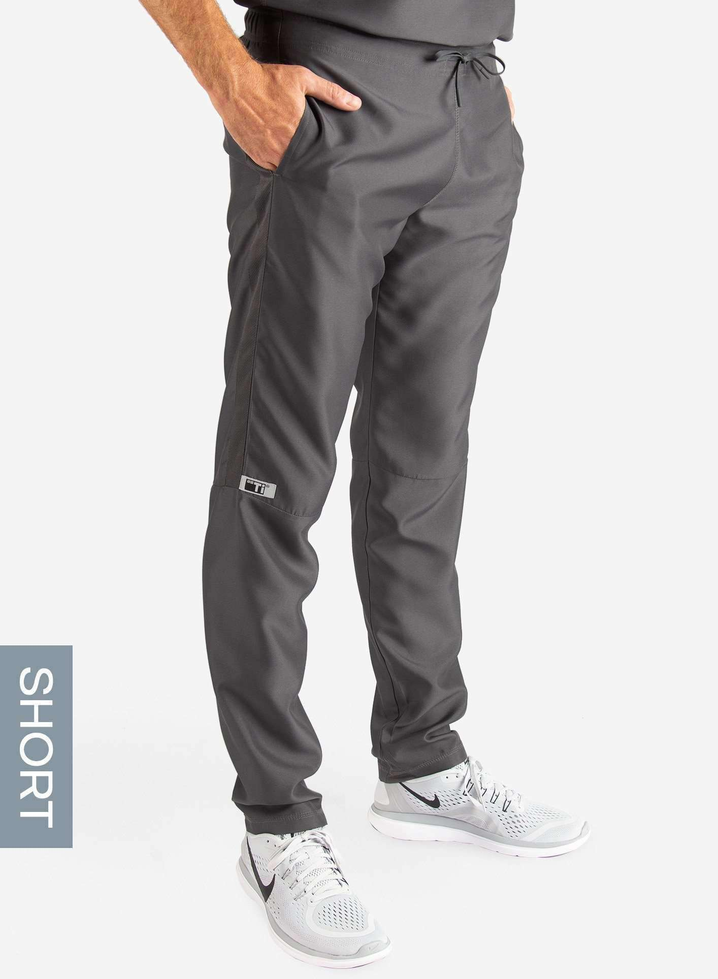 Men's Short Slim Fit Scrub Pants in Dark Grey