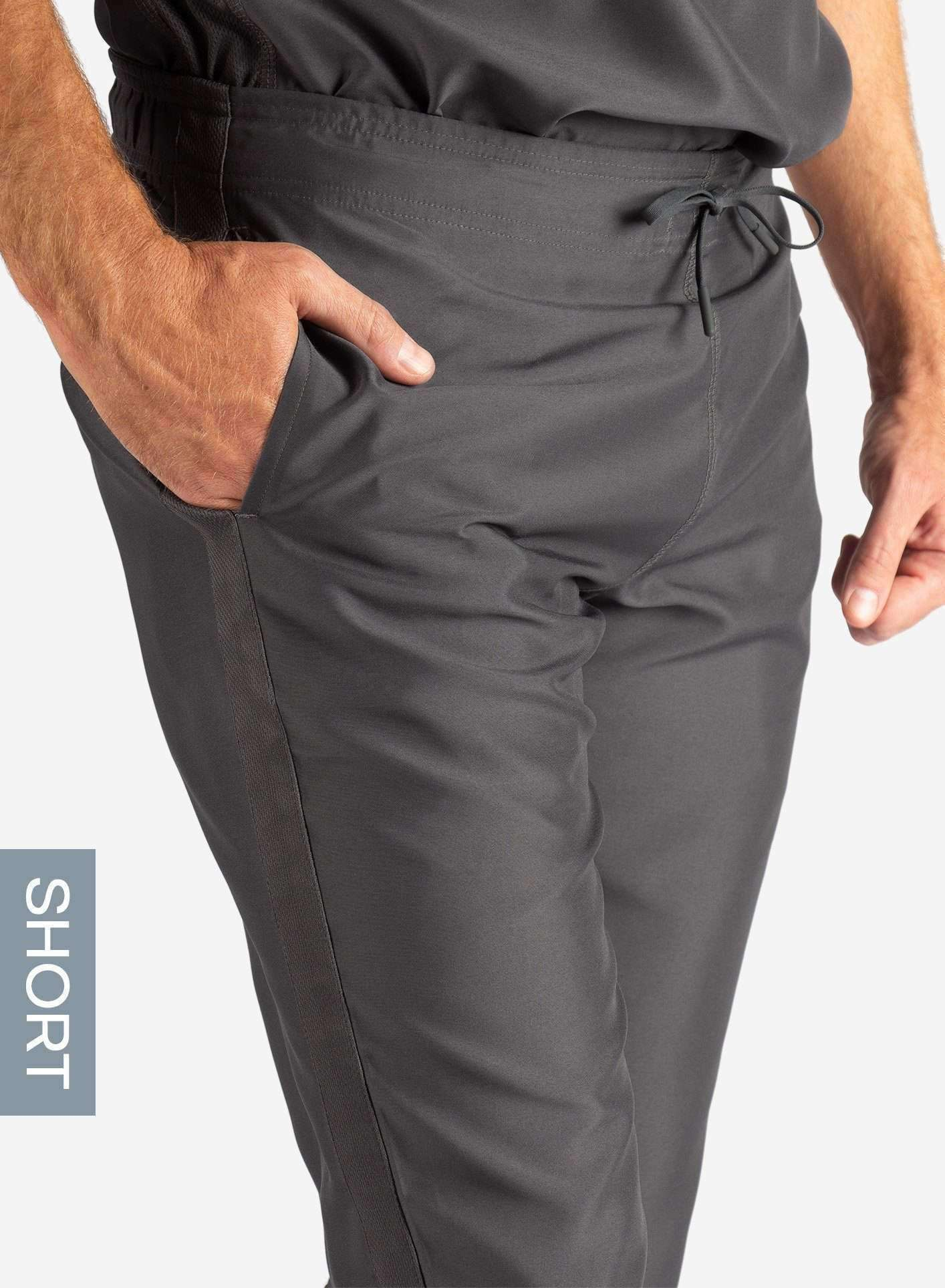 Men's Short Slim Fit Scrub Pants in Dark Grey Waistband View