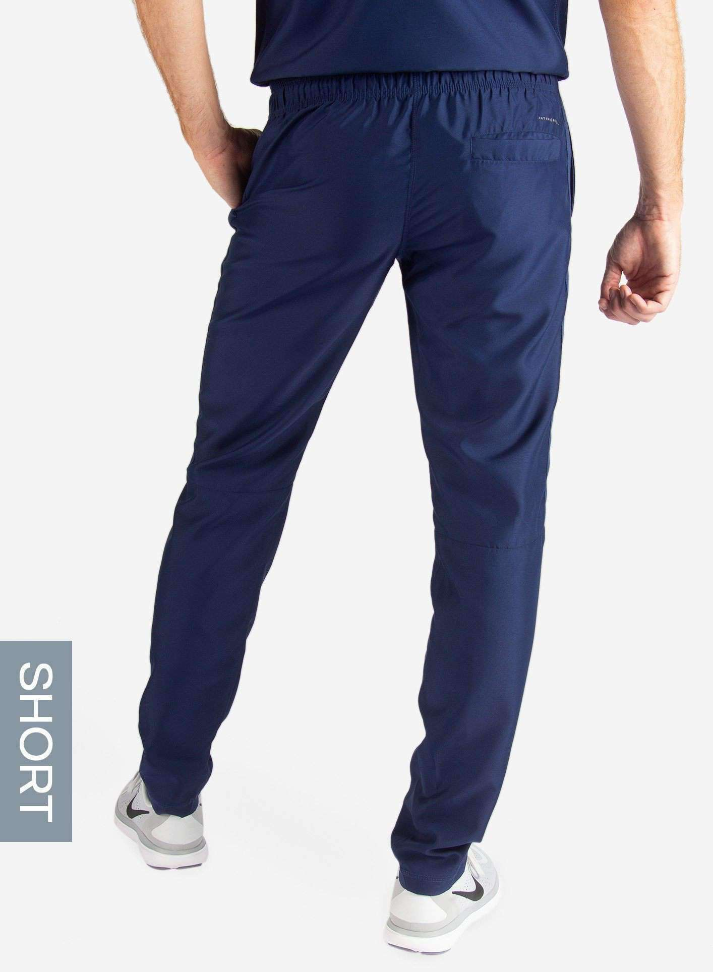 Men's Short Slim Fit Scrub Pants in Navy Blue Back View