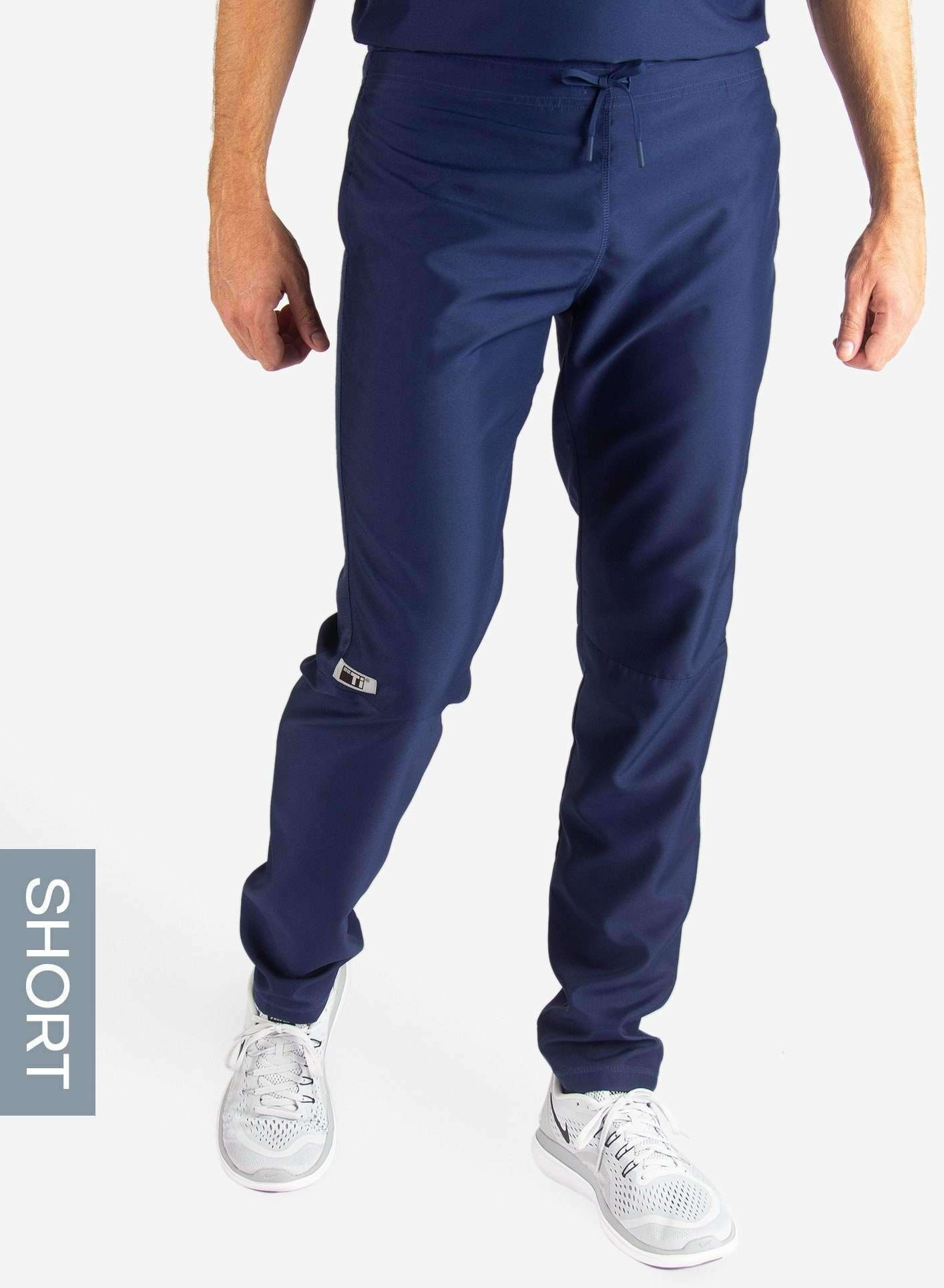 Men's Short Slim Fit Scrub Pants in Navy Blue