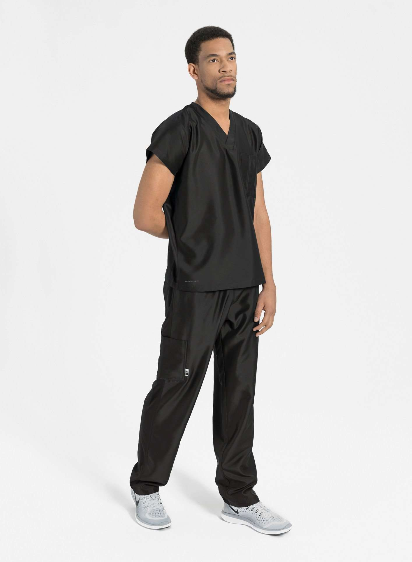 mens Elements short and tall relaxed fit scrub pants black