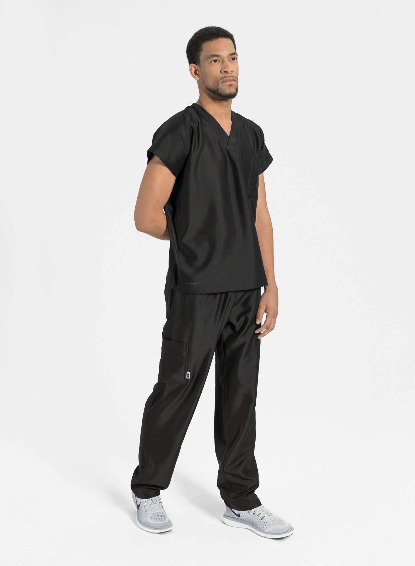 mens Elements short sleeve classic one pocket scrub top black
